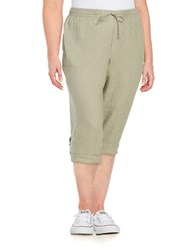 Lord And Taylor Plus Linen Capri Pants Safari