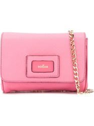 Hogan Textured Flap Closure Cross Body Bag Pink And Purple