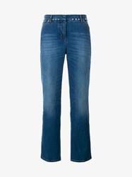 Valentino Studded Kick Flare Jeans Denim Blue White