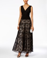 Sl Fashions Ruched V Neck Tiered Lace Gown Black