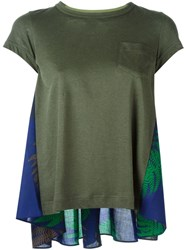 Sacai Contrasted Back Floral Print T Shirt Green