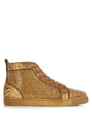 Christian Louboutin Louis High Top Crystal Embellished Trainers Gold
