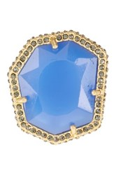 Vince Camuto Pave Border Stone Ring Size 7 Blue