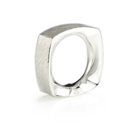 Kristjan Eyjolfsson On The Rocks Square Ring Silver