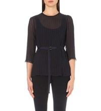 Claudie Pierlot Battle Striped Woven Top Marine
