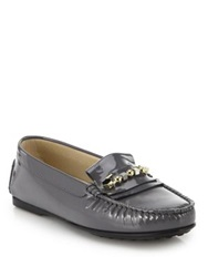 Tod's City Geo Pin Patent Leather Loafers Dark Grey