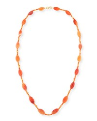 Splendid Company Long Carnelian Marquis Station Necklace