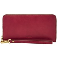 Fossil Emma Leather Large Zip Clutch Bag Wine