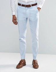 Asos Skinny Suit Trousers In Linen Mix Blue
