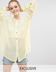 Sister Jane Sorbet Lace Smock Blouse Yellow