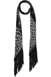 Rockins Rose Leopard Fringed Printed Silk Crepe De Chine Scarf Black Leopard Print