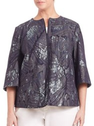 Lafayette 148 New York Plus Size Athea Etched Palm Denim Jacket Indigo Multi