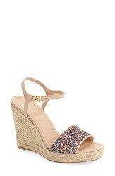 Women's Kate Spade New York 'Jaden' Espadrille Wedge Multi Glitter Pink Nappa