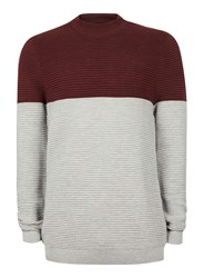 Topman Burgundy And Grey Ripple Textured Turtle Neck Sweater