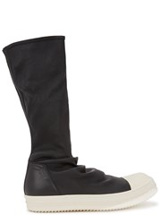Rick Owens Black Stretch Leather Boots