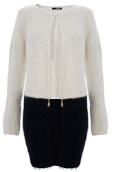 Quiz Cream Contrast Knit Zip Cardigan
