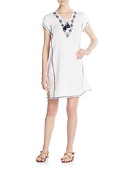 Saks Fifth Avenue Embroidered Lace Front Linen Shift Dress White