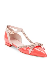 Kate Spade Becca Patent Leather T Strap Flats Red