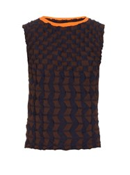 Issey Miyake Textured Clay Knit Top Brown Multi