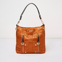 River Island Womens Orange Quilted Slouch Bag