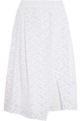 Tanya Taylor Sammy Wrap Effect Embroidered Organza Skirt White