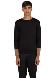 Valentino Contrast Cuff Crew Neck Sweater Black