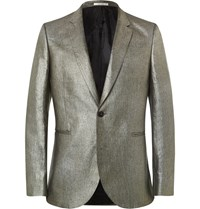 Paul Smith Silver Slim Fit Linen Blazer Gray