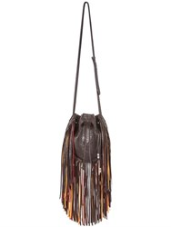 Barbara Bonner Tree Of Life Embossed Leather Bucket Bag