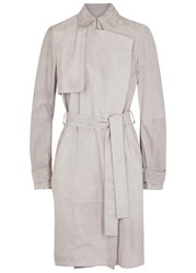 Hugo Boss Sobree Grey Suede Trench Coat