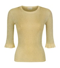 Red Valentino Metallic Ruffle Jumper Female Yellow