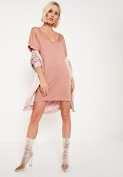 Missguided Petite Pink Rose Wide Neck T Shirt Dress