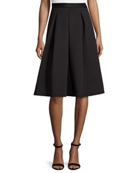 Chelsea And Theodore Pleated A Line Knit Skirt Black