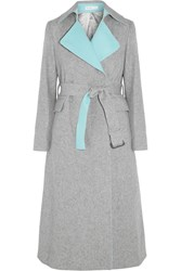 Sacai Luck Belted Wool Blend Coat Gray