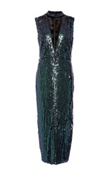 Sally Lapointe Sequin Cut Out Dress Navy