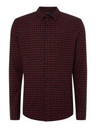 Religion Men's Broken Check Long Sleeve Shirt Black And Red Black And Red