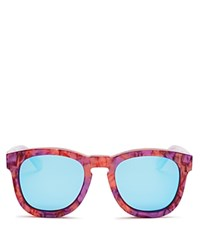 Wildfox Couture Fox Mirrored Wayfarer Sunglasses 50Mm Wildflower Blue Mirror