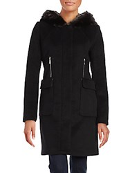 Dawn Levy Lara Faux Fur Trimmed Coat Black