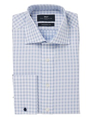 Paul Costelloe Basketweave Check Classic Fit Shirt Blue