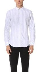 Club Monaco Striped Oxford Shirt Pure White