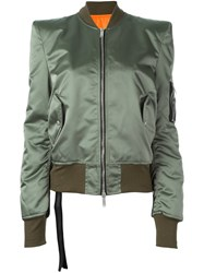 Unravel Structured Shoulder Bomber Jacket Green