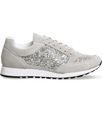 Office Party Glitter Suede Trainers Grey Suede Glitter