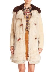 Coach Shearling Buckle Tab Coat Vintage White