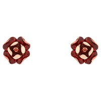 Ted Baker Esmea Enamel Rose Stud Earrings Rose Gold Red