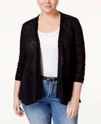 Styleandco. Style Co. Plus Size Crochet Trim Cardigan Only At Macy's Deep Black