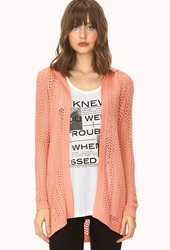 Forever 21 Boho Beauty Longline Cardigan Coral