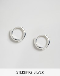 Asos Sterling Silver 7Mm Chunky Hoop Earrings Sterling Silver