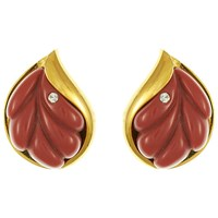Eclectica Vintage 1970S Givenchy Gold Plated Leaf Clip On Earrings Plum Gold