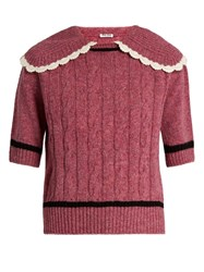 Miu Miu Cable Knit Wool Sweater Pink
