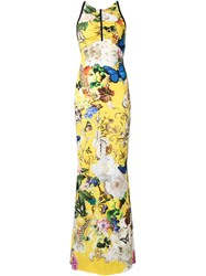 Roberto Cavalli Botanical Print Fitted Maxi Dress Yellow And Orange