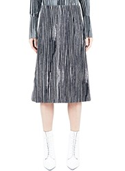 Marni Striped Bonded Wool Skirt Black